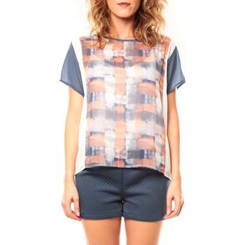 Abbigliamento Donna T-shirt maniche corte Coquelicot T-shirt CQTW14321 Blanc/Bleu Blu