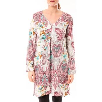 Abbigliamento Donna Tuniche Dress Code Robe Moda H G-0080-3 Blanc/Rose Rosa