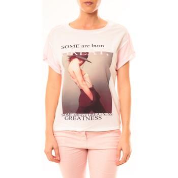 Abbigliamento Donna T-shirt maniche corte By La Vitrine Tee-shirt B005 Blanc/Rose Rosa