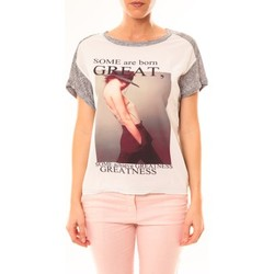 Abbigliamento Donna T-shirt maniche corte By La Vitrine Tee-shirt B005 Blanc/Gris Grigio