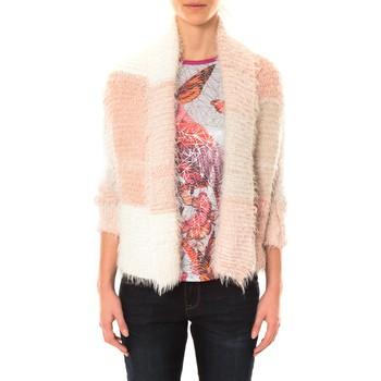Abbigliamento Donna Gilet / Cardigan De Fil En Aiguille Gilet Bicolore LOLA blanc et rose Rosa