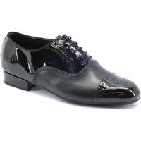 Scarpe Uomo Derby Vitiello Dance Shoes Scarpa da ballo per uomo in nappa e vernice nera con tacco 2cm Nero