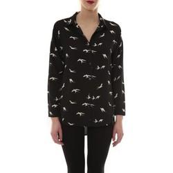 Abbigliamento Donna Camicie maniche lunghe Comme Des Filles Chemise Noir Oiseaux Blanc CH105 Nero