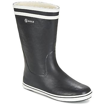 Scarpe Donna Stivali da pioggia Aigle MALOUINE FUR Nero