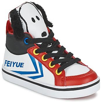 Scarpe Bambino Sneakers alte Feiyue DELTA MID PEANUTS Bianco / Nero / Rosso