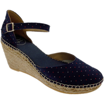 Sandali Toni Pons  scarpa sandalo blu mari pois rosso bianco chiuso zeppa art DELTA