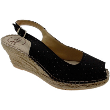 Scarpe Donna Sandali Toni Pons sandalo corda pois aperto nero oro zeppa art COIMBRA nero