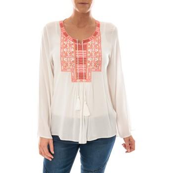 Abbigliamento Donna Top / Blusa Barcelona Moda Top Pink Blanc Broderie Corail Bianco