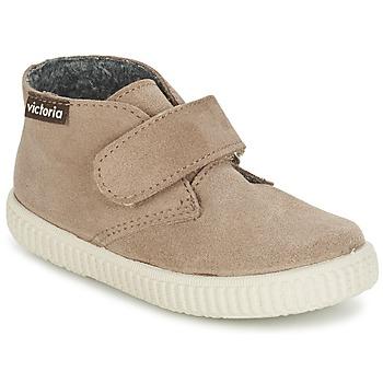 Scarpe Bambino Sneakers alte Victoria SAFARI SERRAJE VELCRO TAUPE
