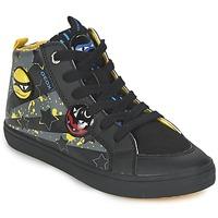 Scarpe Bambino Sneakers alte Geox KIWI BOY Nero / Giallo
