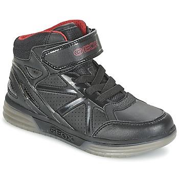 Scarpe Bambino Sneakers alte Geox ARGONAT BOY Nero / Rosso