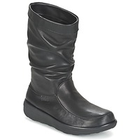 Scarpe Donna Stivaletti FitFlop LOAF SLOUCHY KNEE BOOT LEATHER Black