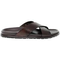 Scarpe Uomo Sandali Leo Pucci Sandalo  in pelle marrone scuro marrone