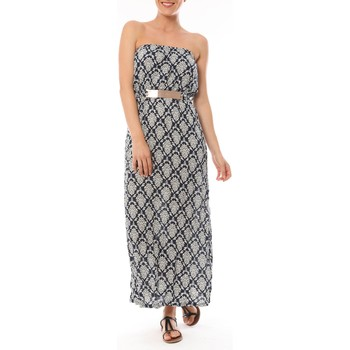 Abbigliamento Donna Abiti lunghi Dress Code Robe Longue 9597 Bleu imprimée fleurs Blu