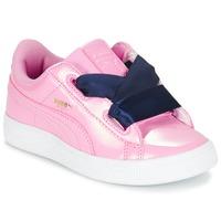 Scarpe Bambina Sneakers basse Puma BASKET HEART PATENT PS Rosa / MARINE