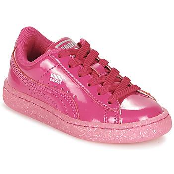 Scarpe Bambina Sneakers basse Puma BASKET PATENT ICED GLITTER PS Rosa