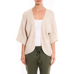 Abbigliamento Donna Gilet / Cardigan Barcelona Moda Gilet Ecru argentée manche 3/4 Bianco
