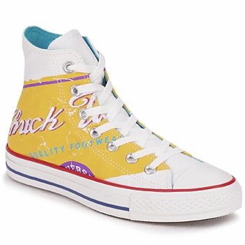 Scarpe Donna Sneakers alte Converse All Star PRINT HI POP ART Bianco / Giallo