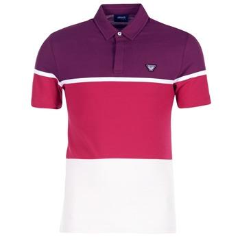 Abbigliamento Uomo Polo maniche corte Armani jeans MARAFOTA Viola / Rosso / Bianco