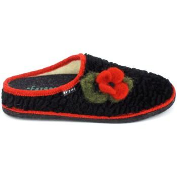 Scarpe Donna Pantofole Fargeot Siberie Noir Fleur Nero