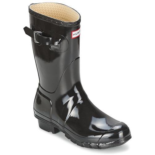 Hunter Donna ORIGINAL SHORT GLOSS Nero  Donna Scarpe Stivali da pioggia Donna  112 031efb