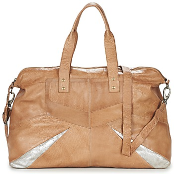 Borse Donna Borse a spalla Pieces JACE LEATHER TRAVEL BAG COGNAC / Argento