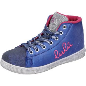 Scarpe Bambina Sneakers alte Lulu sneakers blu tessuto argento camoscio AH227 blu