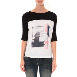 Abbigliamento Donna T-shirts a maniche lunghe Coquelicot Tee shirt  Noir & Blanc 16409 Nero