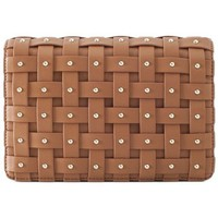 Borse Donna Tracolle Elisabetta Franchi braided leather tobacco pouch