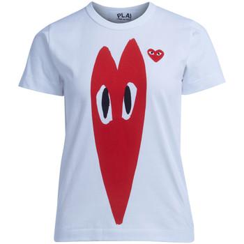 Abbigliamento Donna T-shirt maniche corte Comme Des Garcons T-shirt  bianca con cuore rosso Bianco