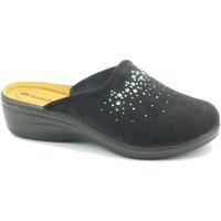 Scarpe Donna Zoccoli Inblu Pantofole per donna in tessuto nero con brillantini zeppa media Nero
