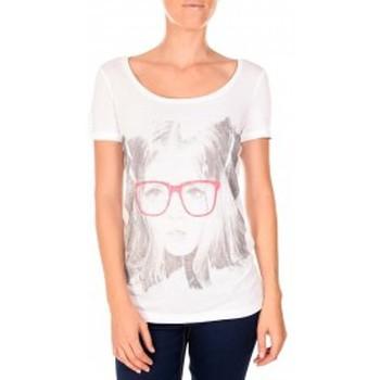 Abbigliamento Donna T-shirt maniche corte Vero Moda AMANDA GLASSES SS TOP blanc/rose Rosa