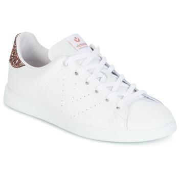 Scarpe Donna Sneakers basse Victoria DEPORTIVO BASKET PIEL Bianco / Rosa / GLITTER