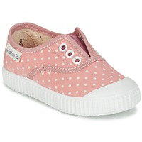 Scarpe Bambina Sneakers basse Victoria INGLESA LUNARES ELASTICO Rosa / Bianco