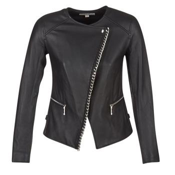 Abbigliamento Donna Giacca in cuoio / simil cuoio MICHAEL Michael Kors CHAIN FRONT BIKER Nero