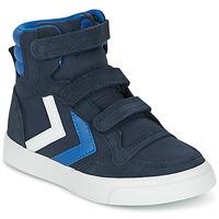 Scarpe Bambino Sneakers alte Hummel STADIL CANVAS HIGH JR Blu / Bianco