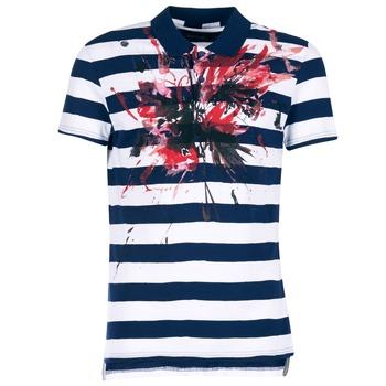 Abbigliamento Uomo Polo maniche corte Desigual RELIRA Bianco / MARINE / Rosso