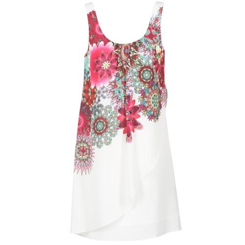 Abbigliamento Donna Abiti corti Desigual LIORASA Bianco / Rosso / Rosa