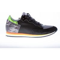 Scarpe Uomo Sneakers basse Quattrobarradodici Sneaker in camoscio più tessuto NERO con camoscio mimetico nero