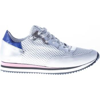 Scarpe Donna Sneakers basse Quattrobarradodici Sneaker in pelle ARGENTO con tessuto bianco intrecciato argento