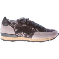 Scarpe Donna Sneakers basse Ishikawa Sneaker in camoscio GRIGIO con pizzo nero nero
