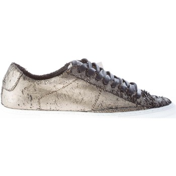Scarpe Donna Sneakers basse Quattrobarradodici Donna sneaker in tessuto PLATINO con effetto laserato oro