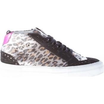 Scarpe Donna Sneakers basse Quattrobarradodici Donna sneaker mid-cut in laminato ANIMALIER più nero nero