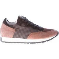 Scarpe Uomo Sneakers basse Quattrobarradodici Sneaker in pelle marrone più tessuto pied de poule marrone