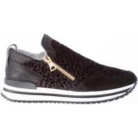 Scarpe Donna Sneakers basse Quattrobarradodici Donna slip on sneaker con zip in tessuto NERO stampa animalier nero