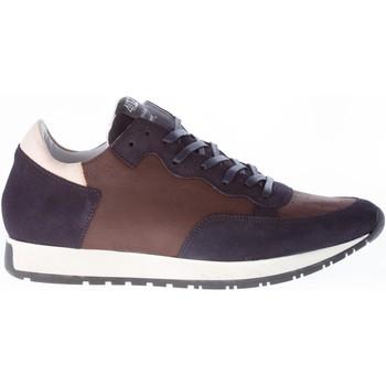 Scarpe Uomo Sneakers basse Quattrobarradodici Sneaker in camoscio BLU e pelle MARRONE marrone