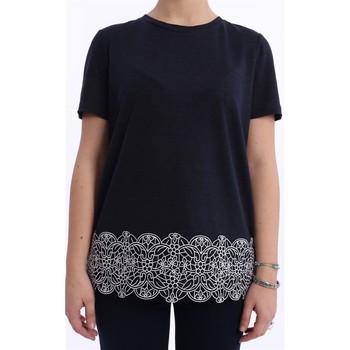 Abbigliamento Donna T-shirt maniche corte Tory Burch T-SHIRT IN LINO BLU CON RICAMO Altri