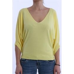 Abbigliamento Donna Maglioni Solo Tre MAGLIA NIOI GIALLA IN COTONE MODELLO OVER Yellow