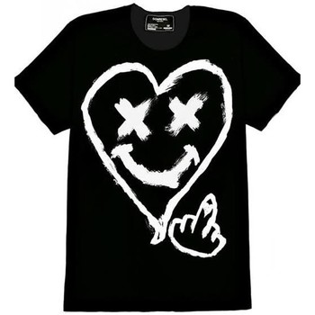 Abbigliamento Uomo T-shirt maniche corte Domrebel T-SHIRT  COTONE NERO SMILEY E CUORE Black