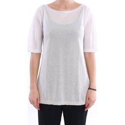 Abbigliamento Donna T-shirt maniche corte White.7 LO MAGLIA SCOLLO A BARCA IN VISCOSA BIANCO CIPRIA White